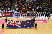 10.02.2017 The Silver Ferns line up for the National anthem ahead of the Silver Ferns v England Roses Vitality Netball International Series test match played at the Echo Arena in Liverpool. Mandatory Photo Credit © Paul Greenwood/Michael Bradley Photography.