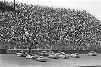 BROOKLYN, MI - AUGUST 11: Cale Yarborough (#28 Harry Ranier Ford), Darrell Waltrip (#11 Junior Johnson Chevrolet) and Neil Bonnett (#12 Junior Johnson Chevrolet) lead a group of cars on the front straight during the Champion Spark Plug 400 NASCAR Winston Cup race at the Michigan International Speedway near Brooklyn, Michigan, on August 11, 1985.