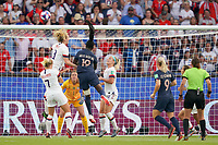 PARIS, FRANCE - JUNE 28: Samantha Mewis #3, Griedge Mbock Bathy #19 during a 2019 FIFA Women's World Cup France quarter-final match between France and the United States at Parc des Princes on June 28, 2019 in Paris, France.