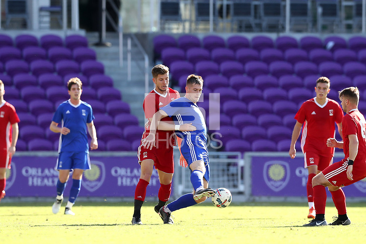 Orlando, Florida - Monday January 15, 2018: Mac Steeves and Leon Schwarzer. Match Day 2 of the 2018 adidas MLS Player Combine was held Orlando City Stadium.