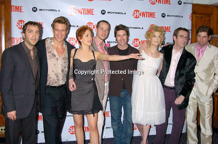 """Scott Lowell, Robert Gant, Michelle Clunie, Peter Paige, Kyan Douglas of Queer Eye, Thea Gill, Ted Allen from Queer Eye and Gale Harold ..at the New York Premiere party for the new season of   Showtimes""""Queer As Folk""""  which starts on April 18, 2004. ..The party was at The Gramercy Park Hotel on March 31, 2004. ..Photo by Robin Platzer, Twin Images"""