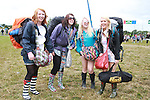 Elizabeth Arthur, Emma Byrnes, Cara McDonagh and Poppy Rees on Day 1 of the Oxegen Festival, Punchestown, Co.Kildare...(Photo credit should read Jenny Matthews www.newsfile.ie)....This Picture has been sent you under the conditions enclosed by:.Newsfile Ltd..The Studio,.Millmount Abbey,.Drogheda,.Co Meath..Ireland..Tel: +353(0)41-9871240.Fax: +353(0)41-9871260.GSM: +353(0)86-2500958.email: pictures@newsfile.ie.www.newsfile.ie.