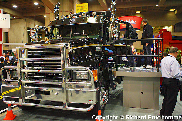 A Mack truck on display at Expocam truck show held at Place Bonaventure April 2013