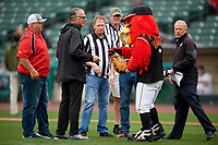 Mike Pereira of Battlefields to Ballfields with mascot Spikes after throwing out the ceremonial first pitch before a Rochester Red Wings International League game against the Charlotte Knights on June 16, 2019 at Frontier Field in Rochester, New York.  Rochester defeated Charlotte 11-5 in the first game of a doubleheader that was a continuation of a game postponed the day prior due to inclement weather.  (Mike Janes/Four Seam Images)