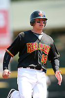 April 26, 2009:  Third Baseman Luke Hughes (18) of the Rochester Red Wings, International League Class-AAA affiliate of the Minnesota Twins, during a game at the Frontier Field in Rochester, NY.  Photo by:  Mike Janes/Four Seam Images
