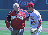 United States Vice President Dick Cheney and Washington Nationals catcher Brian Schneider (23) after the VP threw out the first pitch to open the 2006 Washington Nationals home baseball season at RFK Stadium in Washington, DC on April 11, 2006.  The Nationals' opponents are the New York Mets.<br />