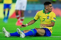 ARMENIA, COLOMBIA - JANUARY 19: Brazil's Paulinho sits on the field after being fouled during his CONMEBOL Pre-Olympic soccer game against Peru at Centenario Stadium on January 19, 2020 in Armenia, Colombia. (Photo by Daniel Munoz/VIEW press/Getty Images)