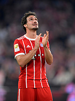 14.04.2018, Football 1. Bundesliga 2017/2018, 30.  match day, FC Bayern Muenchen - Borussia Moenchengladbach, in Allianz-Arena Muenchen. celebration  Mats Hummels (Bayern Muenchen). *** Local Caption *** © pixathlon<br /> <br /> Contact: +49-40-22 63 02 60 , info@pixathlon.de