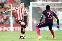 Athletic de Bilbao's Javi Eraso (l) and FC Barcelona's Samuel Umtiti during La Liga match. August 28,2016. (ALTERPHOTOS/Acero) /NORTEPHOTO