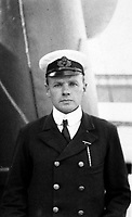 BNPS.co.uk (01202 558833)<br /> Pic: HAldridge/BNPS<br /> <br /> A young Charles Lightoller on the RMS Oceanic in New York in 1909 - he was the most senior officer to survive the Titanic sinking three years later.<br /> <br /> A remarkable photo album taken by a White Star line officer Philip Agathos Bell that contains haunting before-and-after images of the most senior officer to survive the Titanic disaster has come to light.<br /> <br /> The contrasting snaps of Second Officer Charles Lightoller show him stood proudly and confidently in his White Star Line uniform in and then one of him looming gaunt and drawn from his recent ordeal.<br /> <br /> Another incredible image shows the football team for While Star Line.