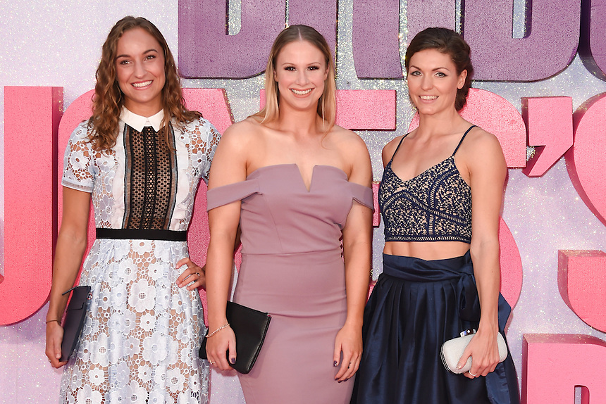 """Olympians, Emily Diamond, Sophie Hitchon and Kelly Massey<br /> at the """"Bridget Jones's Baby"""" World premiere, Odeon Leicester Square , London.<br /> <br /> <br /> ©Ash Knotek  D3149  05/09/2016"""