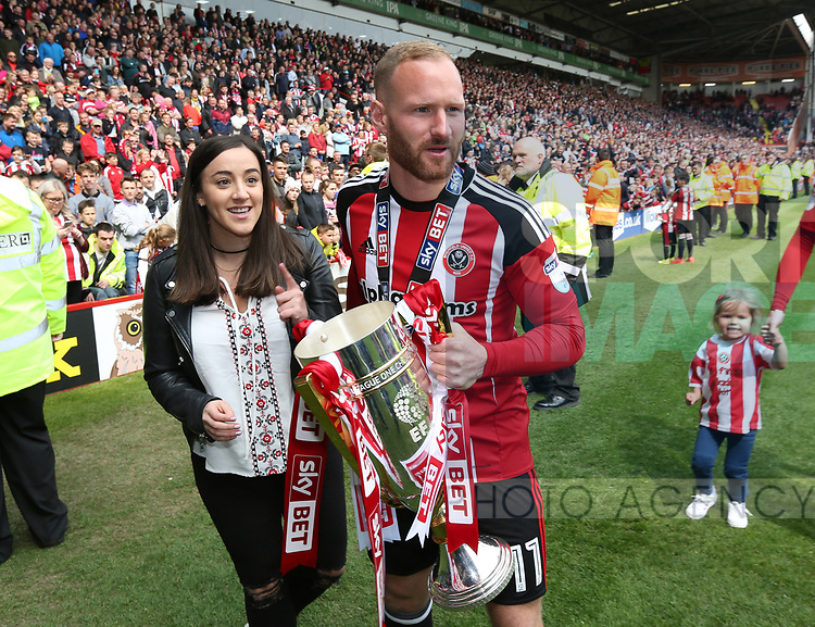 Sheffield United's Matt Done celebrates with the trophy during the League One match at Bramall Lane, Sheffield. Picture date: April 30th, 2017. Pic David Klein/Sportimage