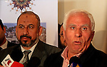 Azzam al-Ahmad (R), who heads Fatah's parliamentary bloc and Hamas movement's ex-finance minister Omar Abdul Razeq (L) hold a joint press conference following their talks in the West Bank city of Ramallah on June 14, 2009. The two main Palestinian factions Fatah and Hamas convened meetings in the West Bank and the Gaza Strip in a new bid to reconcile their differences, officials from both groups said. PHOTO \Issam rimawi