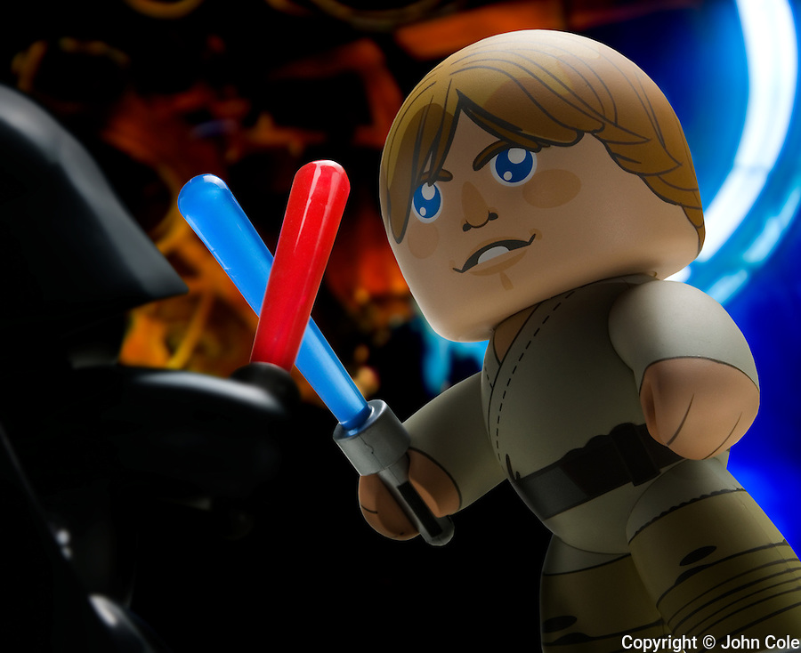 Luke Skywalker and Darth Vader, light saber battle