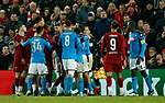 Kalidou Koulibaly of Napoli and Andrew Robertson of Liverpool receive a yellow card for this ruckus  during the UEFA Champions League match at Anfield, Liverpool. Picture date: 27th November 2019. Picture credit should read: Andrew Yates/Sportimage