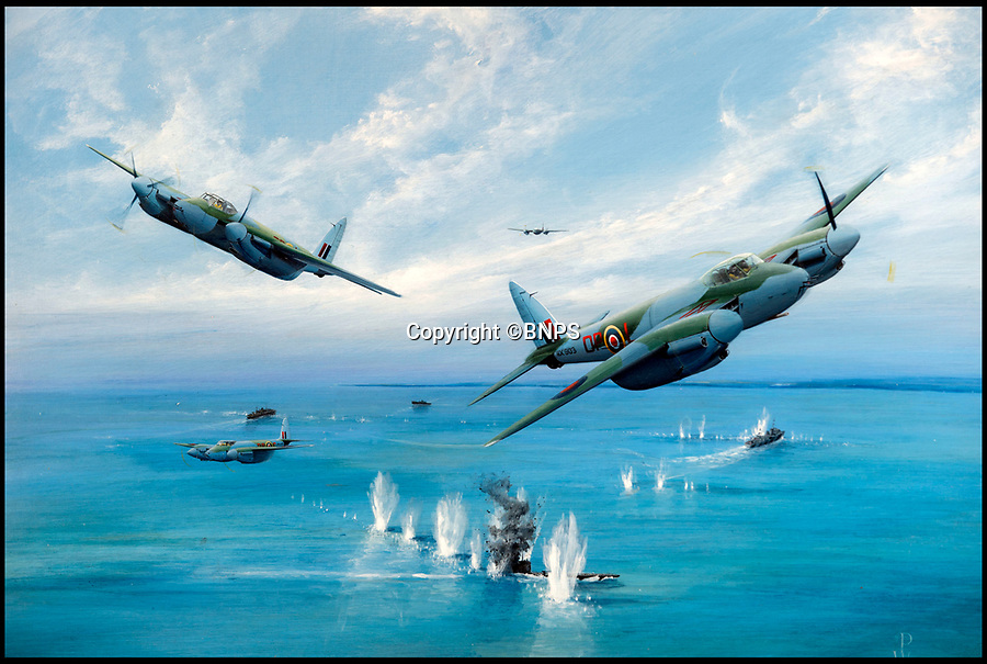 BNPS.co.uk (01202 558833)Pic: PhilYeomans/BNPS<br /> <br /> Painting of the Mosquito 'Tse-tse' attack on U-976 off St Nazaire (25/3/44)<br /> <br /> Living History - RAF hero reveals an unlikely friendship with the U-Boat captian he sunk!<br /> <br /> Former RAF Navigator Des Curtis(94) from Poole in Dorset - Won his DFC after sinking a German U-Boat off St Nazaire in March 1944, but later became a lifelong friend of its Captain Raimond Teisler.<br /> <br /> An RAF hero has told of how he memorably sunk a German U-Boat 75 years ago - then years later became unlikely friends with its commander.<br /> <br /> Flight Lieutenant Des Curtis was just 20 years old when he took part in the daring attack on U-976 south west of St Nazaire on the Atlantic coast of France on March 25, 1944.<br /> <br /> He was the navigator in a Mosquito armed with a 6-pounder gun which took out the submarine while evading anti-aircraft fire from minesweepers and shelling from the shore batteries.<br /> <br /> Four of the U-Boat's 53 man crew were killed in the attack which was later immortalised on the front page of the boy's own adventure magazine 'Victor'. <br /> <br /> Yet, remarkably, almost 50 years later, Flt Lt Curtis became pen pals with the U-976's Kommandant Raimond Teisler.<br /> <br /> They eventually met up in Germany, with Raimond also visiting Flt Lt Curtis in England before his death five years ago.