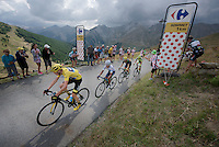 the 'yellow jersey group' / overall contenders Chris Froome (GBR/SKY), Nairo Quintana (COL/Movistar), Alejandro Valverde (ESP/Movistar) & Alberto Contador (ESP/Tinkoff-Saxo) up the Col d'Allos (1C/2250m/14km/5.5%)<br /> <br /> stage 17: Digne-les-Bains - Pra Loup (161km)<br /> 2015 Tour de France