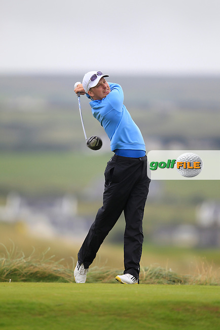 Simon Ward (Co. Louth) on the 2nd tee during the South of Ireland Amateur Open Championship Semi-Finals at Lahinch Golf Club  31th July 2013 <br /> Picture:  Thos Caffrey / www.golffile.ie