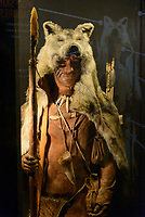 "A model of ""Cheddar Man"" at the museum in Cheddar Gorge, Cheddar, UK, October 16, 2017. Spectacular Cheddar Gorge features the highest inland cliffs in the UK. The nearby village of Cheddar is also the birthplace of the eponymous cheese."