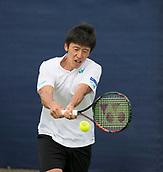 June 11th 2017, Nottingham, England; ATP Aegon Nottingham Open Tennis Tournament day 2;  Yuya Kibi of Japan hits a backhand on his way to victory in three sets over Niklas Johansson of Sweden