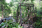 Wattle gate at a homestead in rural New Hampshire USA