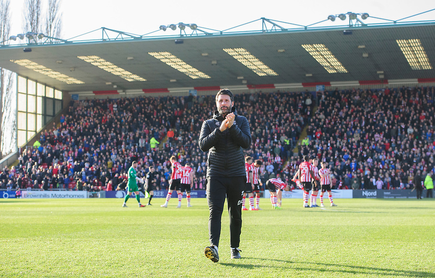 Lincoln City manager Danny Cowley applauds the fans prior to kick off<br /> <br /> Photographer Chris Vaughan/CameraSport<br /> <br /> The EFL Sky Bet League Two - Lincoln City v Stevenage - Saturday 16th February 2019 - Sincil Bank - Lincoln<br /> <br /> World Copyright © 2019 CameraSport. All rights reserved. 43 Linden Ave. Countesthorpe. Leicester. England. LE8 5PG - Tel: +44 (0) 116 277 4147 - admin@camerasport.com - www.camerasport.com