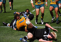 Nick Annear takes a tumble as Ale Kotoni scores during the International rugby match between New Zealand Secondary Schools and Suncorp Australia Secondary Schools at Yarrows Stadium, New Plymouth, New Zealand on Friday, 10 October 2008. Photo: Dave Lintott / lintottphoto.co.nz
