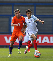Nathan Holland (Everton) of England U19 battles with Odysseus Valanas of Holland during the International match between England U19 and Netherlands U19 at New Bucks Head, Telford, England on 1 September 2016. Photo by Andy Rowland.