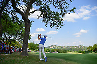 Dustin Johnson (USA) hits his approach shot on 6 during round 7 of the World Golf Championships, Dell Technologies Match Play, Austin Country Club, Austin, Texas, USA. 3/26/2017.<br /> Picture: Golffile | Ken Murray<br /> <br /> <br /> All photo usage must carry mandatory copyright credit (&copy; Golffile | Ken Murray)