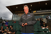 Cary, North Carolina  - Wednesday May 24, 2017: Duke University women's soccer head coach Robbie Church prior to a regular season National Women's Soccer League (NWSL) match between the North Carolina Courage and the Sky Blue FC at Sahlen's Stadium at WakeMed Soccer Park. The Courage won the game 2-0.