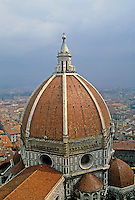 Florence: Dome of Cathedral. Filippo Brunelleschi. 1418-1461. (Brunelleschi died in 1446.)  Duomo --Domus Dei or  House of God. Photo '83.