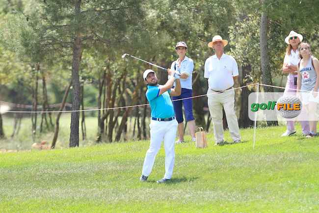 Francesco Molinari (ITA) on the 2nd fairway during Round 3 of the Open de Espana  in Club de Golf el Prat, Barcelona on Saturday 16th May 2015.<br /> Picture:  Thos Caffrey / www.golffile.ie