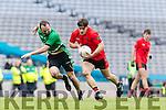 Gavan O'Grady Glenbeigh Glencar in action against Caoilm Teahan Rock Saint Patricks in the Junior Football All Ireland Final in Croke Park on Sunday.