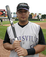 July 25, 2004:  Catcher Dane Sardinha of the Louisville Bats, Triple-A International League affiliate of the Cincinnati Reds, during a game at Frontier Field in Rochester, NY.  Photo by:  Mike Janes/Four Seam Images