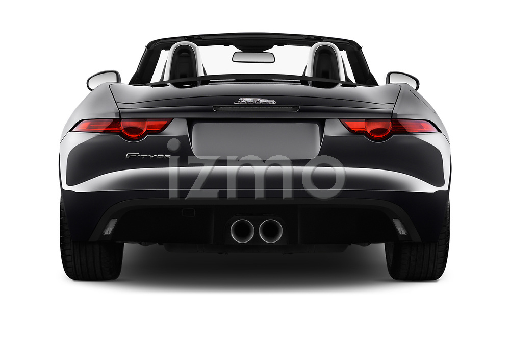 Straight rear view of 2017 Jaguar F-TYPE - 2 Door Convertible Rear View  stock images