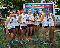 The MICDS girls show off their Varsity 3rd place trophy at the Fleet Feet XC Kickoff in Wentzville.