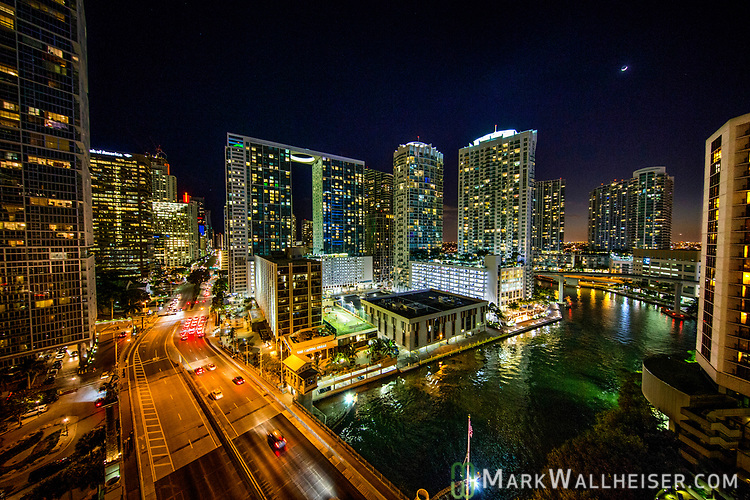 A skyline view of Brickell Street and the Miami River in downtown Miami, Florida.
