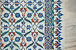 Iznik style tiles in Topkapi Palace; Istanbul, Turkey
