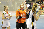 Berlin, Germany, February 10: During the FIH Indoor Hockey World Cup semi-final match between Belarus (dark blue) and Germany (white) on February 10, 2018 at Max-Schmeling-Halle in Berlin, Germany. Final score 2-3. (Photo by Dirk Markgraf / www.265-images.com) *** Local caption *** Julia CIUPKA #20 of Germany