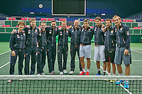 29-01-2014,Czech Republic, Ostrava, Cez Arena, Davis Cup, Czech Republic vs Netherlands, practice,: Dutch team l.t.r.: Docter Babette Pluim, team manager Marc Wolfertz stringer Ralph Pieterman, fysio Edwin Visser,captain Jan Siemerink,coach Raymond Knaap,Igor Sijsling,Robin Haase,Jean-Julien Rojer and Thiemo de Bakker.<br /> Photo: Henk Koster