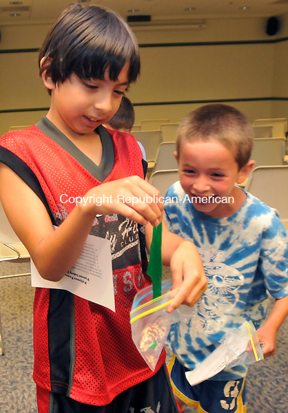 SOUTHBURY, CT-15 JULY 2010-071610IP05- FOR COUNTRY LIFE USE Arturo Ortega (left), 9, and Julian DeCola, 7, both of Southbury, look at the green slime that Ortega made during a Polymer Power Program by the Children's Museum of West Hartford at the Southbury Public Library in Southbury on Friday. The slime was made from polyvinyl alcohol, sodium borate solution and food coloring. The program was sponsored by Stop &amp; Shop.<br /> Irena Pastorello Republican-American