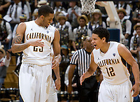 Allen Crabbe of California celebrates with Brandon Smith during the game against UC Irvine at Haas Pavilion in Berkeley, California on November 11th, 2011.  California defeated UC Irvine, 77-56.