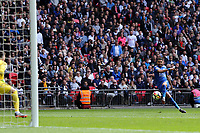 Riyad Mahrez of Leicester City tries to curl a shot into the corner of the net during Tottenham Hotspur vs Leicester City, Premier League Football at Wembley Stadium on 13th May 2018