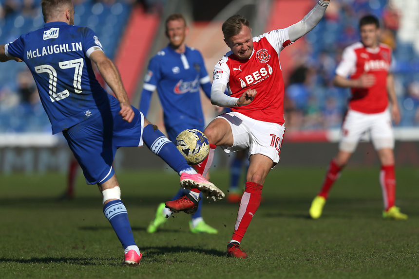 Fleetwood Town's David Ball clashes with Oldham Athletic's Ryan McLaughlin<br /> <br /> Photographer Stephen White/CameraSport<br /> <br /> The EFL Sky Bet League One - Oldham Athletic v Fleetwood Town - Saturday 8th April 2017 - SportsDirect.com Park - Oldham<br /> <br /> World Copyright &copy; 2017 CameraSport. All rights reserved. 43 Linden Ave. Countesthorpe. Leicester. England. LE8 5PG - Tel: +44 (0) 116 277 4147 - admin@camerasport.com - www.camerasport.com