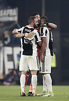 Football Soccer: UEFA Champions League Juventus vs FC Barcelona Allianz Stadium. Turin, Italy, November 22, 2017. <br /> Juventus' captain and goalkeeper Gianluigi Buffon (c) greets Juventu's Gonzalo Higuain (l) and Miralem Pjanic (r) at the end of the Uefa Champions League football soccer match between Juventus and FC Barcelona at Allianz Stadium in Turin, November 22, 2017.<br /> Juventus and Barcelona drawn 0-0. <br /> UPDATE IMAGES PRESS/Isabella Bonotto