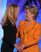 Denver, CO - August 26, 2008 -- Chelsea Clinton, left, and her Mom, United States Senator Hillary Rodham Clinton (Democrat of New York), on the podium before Hillary delivered remarks on day 2 of the 2008 Democratic National Convention at the Pepsi Center in Denver, Colorado on Tuesday, August 26, 2008..Credit: Ron Sachs - CNP.(RESTRICTION: NO New York or New Jersey Newspapers or newspapers within a 75 mile radius of New York City)
