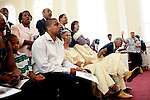Reverend Dr. Gerald L Durley preaches health to his congregation. His congregation honored him during the service August 15, 2010 in celebration of Rev. Dr. Durley's 23rd pastoral anniversary at Providence Missionary Baptist Church. He sits with his family in the first pew at the church as the choir sings.