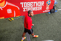 Ashley Williams walks out of the tunnel area for Wales training ahead of the World Cup 2018 qualification match against Moldova at Cardiff City Stadium, Cardiff, Wales on 4 September 2016. Photo by Mark  Hawkins / PRiME Media Images.
