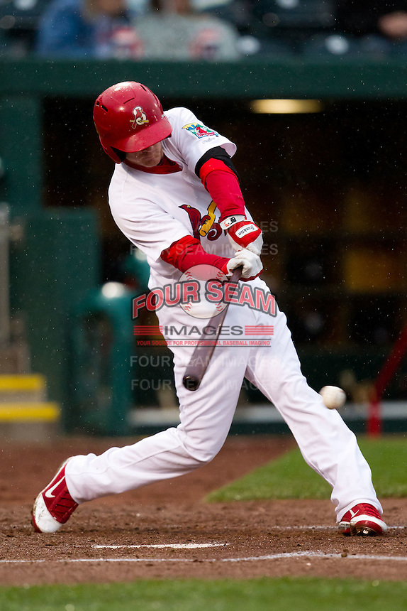 Ryan Jackson (23) of the Springfield Cardinals makes contact on a pitch during a game against the Northwest Arkansas Naturals on May 13, 2011 at Hammons Field in Springfield, Missouri.  Photo By David Welker/Four Seam Images.