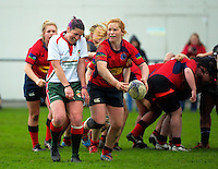 Action from the New Zealand Secondary Schools Girls Top 4 rugby semfinal between Feilding High School (navy blue and maroon) and Southland Girls High School (red and blue) at Arena Manawatu, Palmerston North, New Zealand on Friday, 4 September 2015. Photo: Dave Lintott / lintottphoto.co.nz